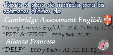 Cartel web Cambridge y DELF examenes