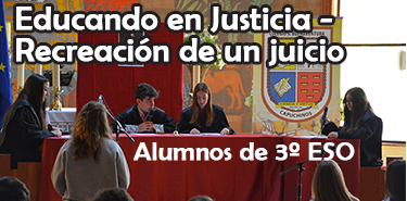 Cartel web Educando en justicia - Recreacion juicio 17-18